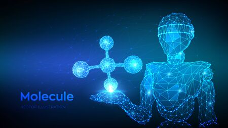 Molecule Structure. Low poly abstract Molecule. Dna, atom, neurons. Molecules and chemical formulas. Abstract 3d low polygonal robot holding Molecule. Vector illustration