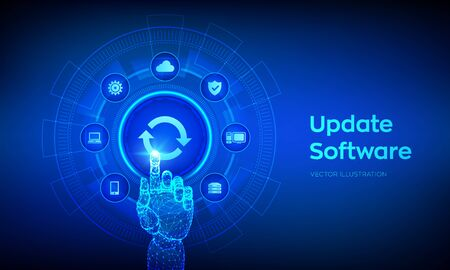 Update Software. Upgrade Software version concept on virtual screen. Computer program upgrade business technology internet concept. Robotic hand touching digital interface. Vector illustration Çizim