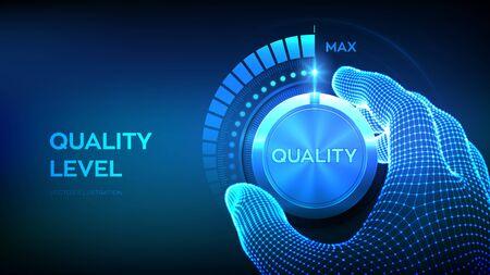 Botón de mando de niveles de calidad. Mano de estructura metálica girando una perilla de nivel de calidad a la posición máxima. Concepto de mejora de la calidad. Ilustración vectorial