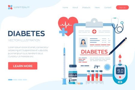 Medical diagnosis - Diabetes. Diabetes mellitus type 2 and insulin production concept. Blood glucose meter, pills, syringe and insulin vial. Vector illustration