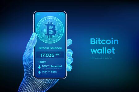 Interface de portefeuille Bitcoin sur l'écran du smartphone. Paiements en crypto-monnaie et concept d'argent numérique basé sur la technologie blockchain. Téléphone mobile agrandi en main filaire. Illustration vectorielle