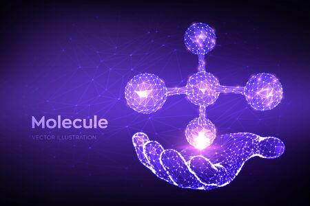 Molecule Structure. Low poly abstract Molecule in hand. Dna, atom, neurons. Molecules and chemical formulas. Scientific background for medicine, science, biology. 3D polygonal vector illustration