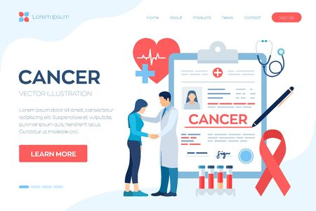 Medical diagnosis - Cancer. Doctor taking care of patient. Detecting and Diagnosis of Oncological Disease. Cancerous Malignant Tumor. Chemotherapy. Breast Cancer Awareness Ribbon. Vector illustration
