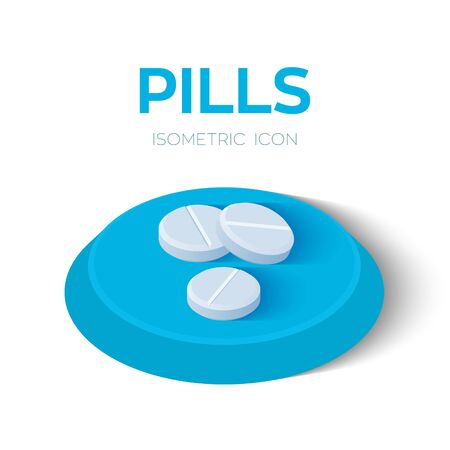 Pills isometric icon. Pharmaceutical medicine tablets. Created For Mobile, Web, Decor, Print Products, Application. Perfect for web design, banner and presentation. Vector Illustration