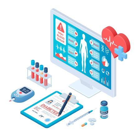 Medical diagnosis - Diabetes. Diabetes mellitus type 2  insulin production. Blood glucose meter, pills, syringe  insulin vial. Medical full  screening software on screen. Vector.  . Ilustração