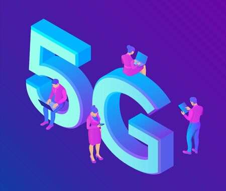 5G Network Internet Mobile technology concept. 5G wireless systems and internet of things . High-speed mobile Internet. Using modern digital devices. Isometric vector illustration with characters Ilustração