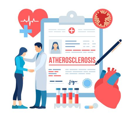 Medical diagnosis - Atherosclerosis. Doctor taking care of patient. Heart attack. Blood vessel section with fatty deposit accumulation. High Cholesterol Blood Pressure. Thrombus in vessel. Vector