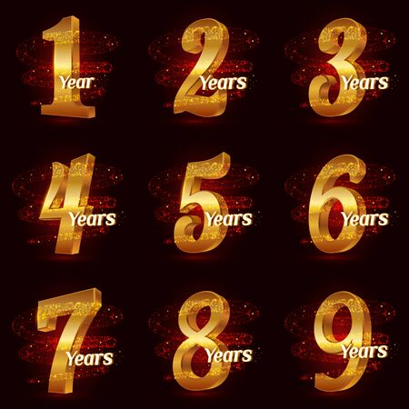 Golden anniversary numbers set. 3d  celebration with Gold glittering spiral star dust trail sparkling particles. Anniversary modern design elements. Vector Illustration