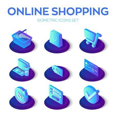 Online shopping icons set. 3D isometric online store icons for website or mobile application. E-commerce sales, digital marketing. Bank card, money, shopping cart and bag, sale. Vector illustration Ilustração