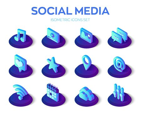 Social media apps isons set. Social media 3d isometric icons. Mobile apps. Created For Mobile, Web, Decor, Application. Perfect for web design, banner and presentation. Vector Illustration Ilustração