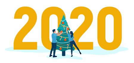 People decorate Christmas tree. 2020 Numbers. Man and woman preparing for the new year, are engaged in decoration. Happy New Year 2020. Merry Xmas Holiday Party. Vector illustration