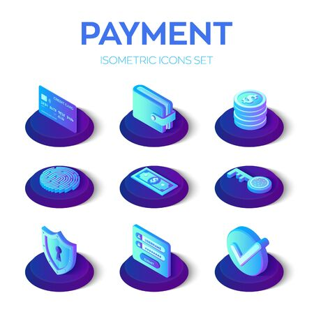 Online payments isons set. 3D isometric mobile payments icons. Personal data protection. Credit card, wallet, money, check and software access data as confidential. Vector illustration  イラスト・ベクター素材