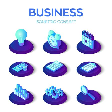 Business icons set. 3D isometric icons for business, management, finance, strategy, marketing. Creative idea, checklist, time management, money, calculator graph search Vector illustration