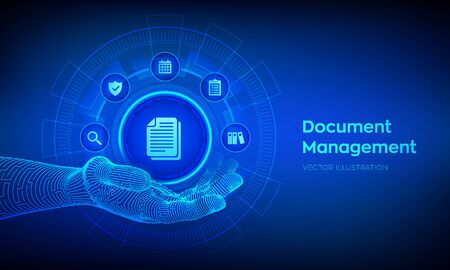 DMS. Document Management Data System. Document icon in robotic hand. Corporate data management system. Privacy data protection. Business Internet Technology Concept. Vector illustration Ilustração