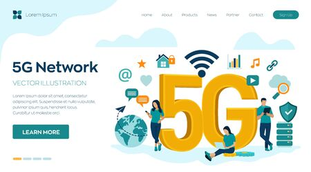 5G Network Internet Mobile technology concept. 5G wireless systems and internet of things . High-speed mobile Internet. Using modern digital devices. Vector illustration with icons and characters