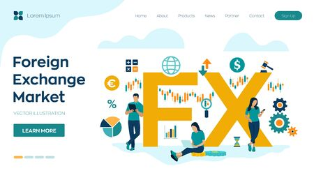 FX. Foreign Exchange Market. Global financial market. Stock Exchange. Forex Banking. Financial management and financial data analysis. Business team. Vector illustration with icons and characters
