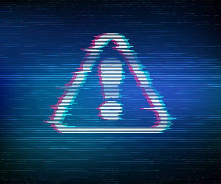 Virus Alert. Glitched Attention. Virus detected, alert alarm message in a distorted glitch style. Danger Symbol. Computer Hacked Error Concept. Hacking Piracy Risk Shield. Vector Illustration