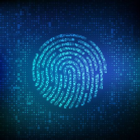 Fingerprint made with binary code. Biometrics identification and approval. Password control through fingerprints. Futuristic biometric and cyber security concept on the digital surface. Vector. EPS10