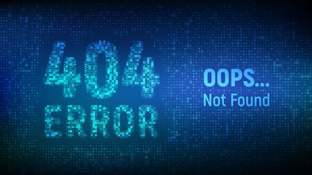 404 error. Page not found. Error 404 word made with binary code. Computer network system problem software futuristic background. Technology binary code number data alert. Vector illustration Çizim