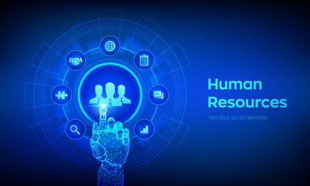 Human Resources. HR management, recruitment, employment, headhunting business concept. Human social network and leadership. Robotic hand touching digital interface. Vector illustration  イラスト・ベクター素材