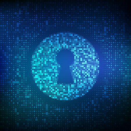 Digital keyhole. Concept of cyber security, firewall, network security, data encryption. Digital binary data and streaming digital code background. Matrix background with digits 1.0. Vector. EPS10 Ilustração