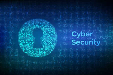Digital keyhole. Concept of cyber security, firewall, network security, data encryption. Digital binary data and streaming digital code background. Matrix background with digits 1.0. Vector. EPS10 Illustration