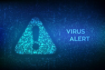 Virus Alert. Attention symbol made with binary code. Danger Sign. Digital binary data and streaming digital code background. Computer Hacked Error Concept. Hacking Piracy Risk. Vector Illustration Illustration