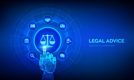 Labor law, Lawyer, Attorney at law, Legal advice concept on virtual screen. Internet law and cyberlaw as digital legal services or online lawyer advice. Robotic hand touching digital interface. Vector. Çizim