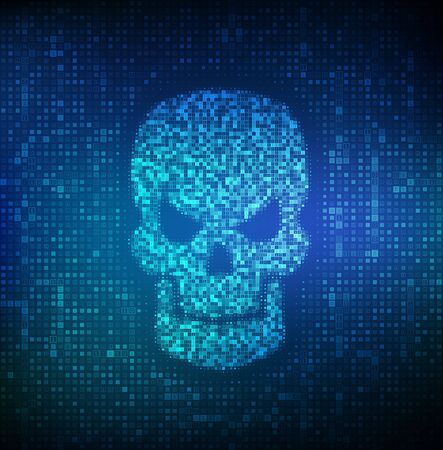 Hacked. Shape of skull made with binary code. Digital code on a screen with a skull representing a computer virus or malware attack. Concept of cyber crime, internet piracy and hacking. Vector. EPS10 Çizim