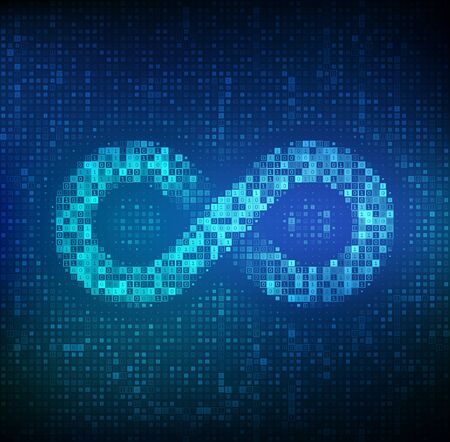 Infinity. Infinity symbol made with binary code. Limitless Abstract Endless Sign. Eternity Icon. Digital binary data and streaming digital code background. Vector Illustration