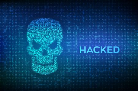 Hacked. Shape of skull made with binary code. Digital code on a screen with a skull representing a computer virus or malware attack. Concept of cyber crime, internet piracy and hacking. Vector. EPS10 向量圖像