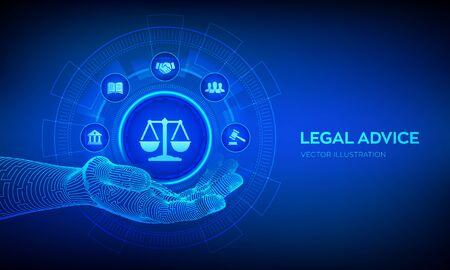 Droit du travail, Avocat, Avocat, Concept de conseil juridique sur écran virtuel. Internetlaw et cyberlaw en tant que services juridiques numériques ou conseils d'avocats en ligne. Signe de loi dans la main robotique. Illustration vectorielle Vecteurs
