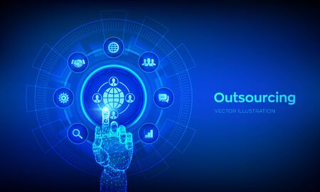 Outsourcing and HR. Social network and global recruitment. Global Recruitment Business and internet concept on virtual screen. Robotic hand touching digital interface. Vector illustration