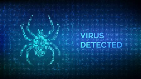 Virus hazard sign. Virus detected. Computer bug made with binary code. Hacked. Digital binary data and streaming digital code background. Concept of cyber crime, internet piracy and hacking. Vector