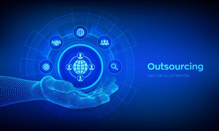Outsourcing and HR. Outsourcing icon in robotic hand. Social network and global recruitment. Global Recruitment Business and internet concept on virtual screen. Vector illustration