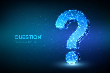 Question mark. Low poly abstract Question sign. Ask symbol. Help support, faq problem symbol, think education concept, confusion search illustration or background. 3D polygonal vector illustration