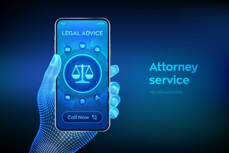 Labor law, Lawyer, Attorney at law, Legal advice concept on smartphone screen. Internet law and cyberlaw as digital legal services or online lawyer advice. Closeup smartphone in wireframe hand. Vector. Ilustração