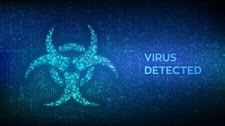 Virus detected. Computer virus hazard sign made with binary code. Hacked. Digital binary data and streaming digital code background. Concept of cyber crime, internet piracy and hacking. Vector