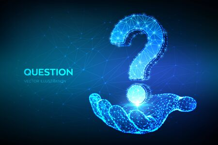 Question mark. Low poly abstract Question sign in hand. Ask symbol. Help support, faq problem symbol, think education concept, confusion search illustration or background. 3D polygonal vector
