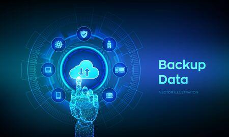 Sauvegarder les données de stockage. Sauvegarde en ligne des données d'entreprise sur le cloud. Concept d'entreprise de technologie Internet. Connexion en ligne. Base de données. Interface numérique tactile de main robotique. Illustration vectorielle Vecteurs