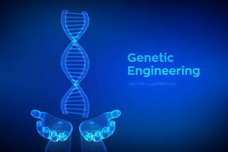 DNA sequence in hands. Wireframe DNA molecules structure mesh. DNA code editable template. Science and Technology concept. Vector illustration Ilustração