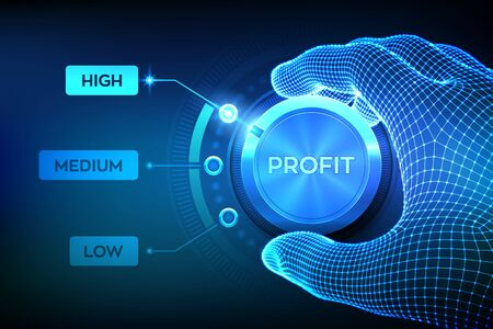 Profit levels knob button. Increasing Profit Level. Wireframe hand setting profit button on highest position. Finance concept illustration of profitability or return on investment. Vector illustration.