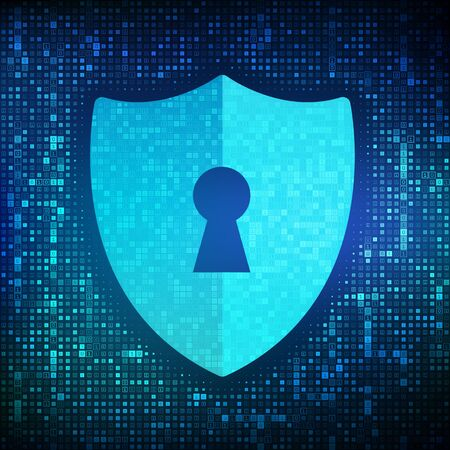 Security shield. Cyber security. Shield With Keyhole icon made with binary code. Protect and Security of Safe concept. Illustrates cyber data security or information privacy idea. Vector Illustration