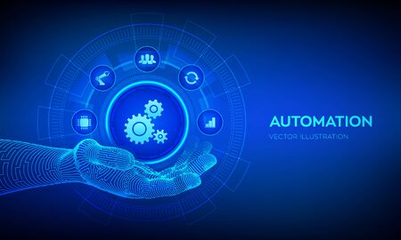 IOT and Automation Software concept as an innovation, improving productivity in technology and business processes. Automation icon in robotic hand. Vector illustration