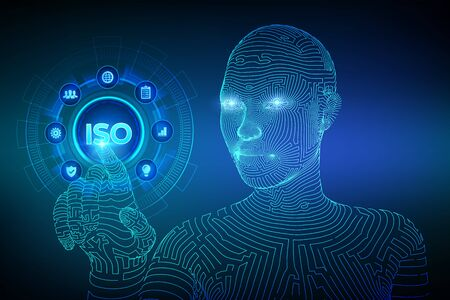 ISO standards quality control assurance warranty business technology concept. ISO standardization certification service concept. Wireframed cyborg hand touching digital interface. Vector illustration