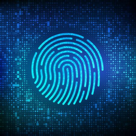 Fingerprint made with binary code. Biometrics identification and approval. Password control through fingerprints.