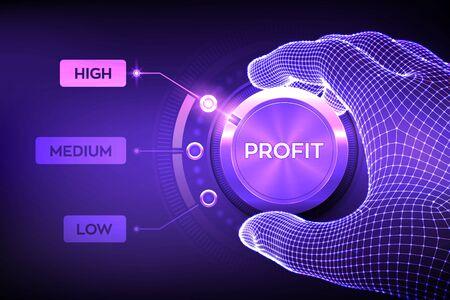 Knopf für Gewinnstufen. Steigendes Gewinnniveau. Wireframe-Hand, die Gewinnschaltfläche auf höchster Position einstellt. Finanzkonzeptillustration der Rentabilität oder der Kapitalrendite. Vektor-Illustration.