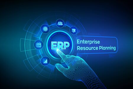 ERP. Enterprise resource planning business and modern technology concept on virtual screen. Corporate Company Management Business. Robotic hand touching digital interface. Vector illustration