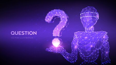 Question mark. Abstract 3d low polygonal robot holding Question sign. Ask symbol. Help support, faq problem, think education concept, confusion search illustration or background. Vector illustration 向量圖像