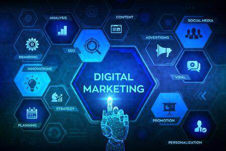 DIgital marketing technology concept on virtual screen. Internet. Online. Search Engine Optimisation. SEO. SMM. Advertising. Robotic hand touching digital interface. Vector illustration